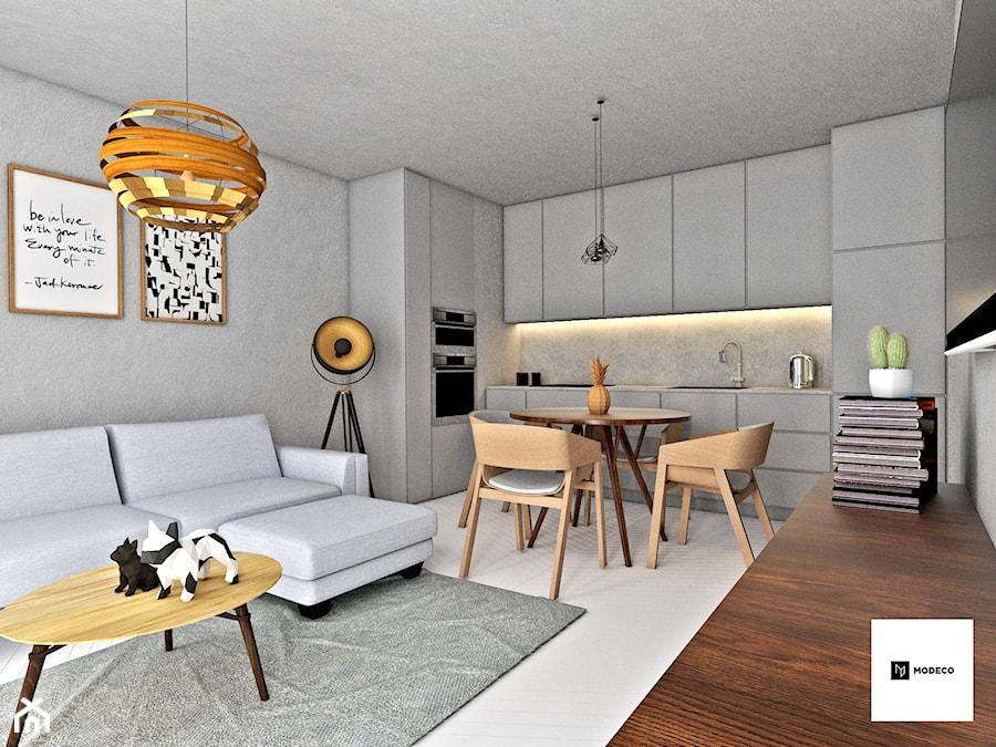 Mieszkanie na Pradze w Warszawie - Średni szary salon z kuchnią z jadalnią, styl skandynawski - zdjęcie od Modeco Magda Olszewska - Architektura wnętrz