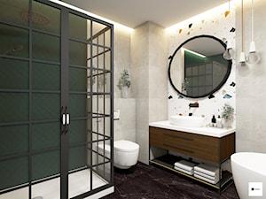 Łazienka w stylu ekletycznym - Średnia biała szara zielona łazienka w bloku w domu jednorodzinnym bez okna, styl eklektyczny - zdjęcie od Modeco Magda Olszewska - Architektura wnętrz