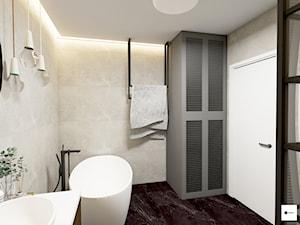 Łazienka w stylu ekletycznym - Średnia szara łazienka w bloku w domu jednorodzinnym bez okna, styl eklektyczny - zdjęcie od Modeco Magda Olszewska - Architektura wnętrz