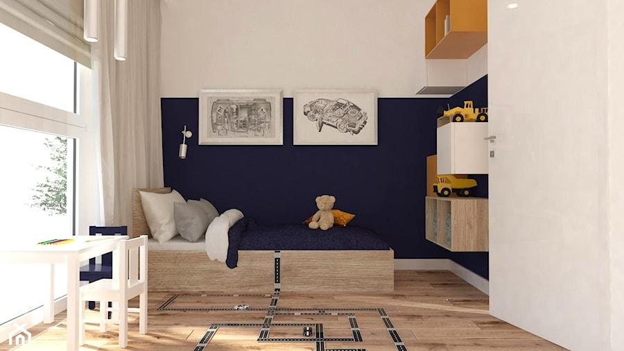 GDYNIA CISOWA - POKÓJ CHŁOPCA - Mały biały niebieski pokój dziecka dla chłopca dla malucha - zdjęcie od Margaret Architect