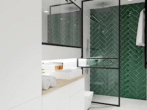 GDAŃSK W ZŁOCIE I ZIELENI | ŁAZIENKA - Średnia biała łazienka w bloku w domu jednorodzinnym bez okna - zdjęcie od Margaret Architect