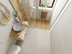 Mała łazienka - Średnia szara łazienka w bloku w domu jednorodzinnym z oknem, styl skandynawski - zdjęcie od DOMOVO STUDIO