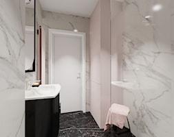 Kawalerka 21m2 - Mała szara łazienka w bloku w domu jednorodzinnym bez okna - zdjęcie od DOMOVO STUDIO - Homebook