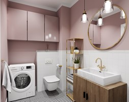 Łazienka 4m2 - Średnia biała różowa łazienka w bloku w domu jednorodzinnym bez okna - zdjęcie od DOMOVO STUDIO - Homebook