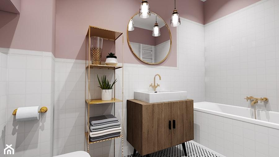 Łazienka 4m2 - Średnia różowa łazienka w bloku w domu jednorodzinnym bez okna - zdjęcie od DOMOVO STUDIO