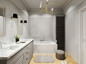 Łazienka 11m2 - Duża szara łazienka w bloku w domu jednorodzinnym jako salon kąpielowy bez okna, styl nowojorski - zdjęcie od DOMOVO STUDIO