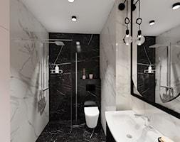 Kawalerka 21m2 - Średnia czarna szara łazienka w bloku w domu jednorodzinnym bez okna - zdjęcie od DOMOVO STUDIO - Homebook