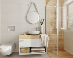 Mała łazienka - Średnia łazienka w bloku w domu jednorodzinnym z oknem, styl skandynawski - zdjęcie od DOMOVO STUDIO - Homebook