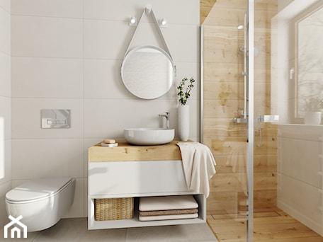 Aranżacje wnętrz - Łazienka: Mała łazienka - Średnia łazienka w bloku w domu jednorodzinnym z oknem, styl skandynawski - DOMOVO STUDIO. Przeglądaj, dodawaj i zapisuj najlepsze zdjęcia, pomysły i inspiracje designerskie. W bazie mamy już prawie milion fotografii!