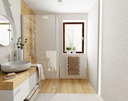 Mała łazienka - Duża łazienka w bloku w domu jednorodzinnym z oknem, styl skandynawski - zdjęcie od DOMOVO STUDIO - Homebook