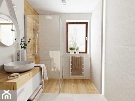 Aranżacje wnętrz - Łazienka: Mała łazienka - Duża łazienka w bloku w domu jednorodzinnym z oknem, styl skandynawski - DOMOVO STUDIO. Przeglądaj, dodawaj i zapisuj najlepsze zdjęcia, pomysły i inspiracje designerskie. W bazie mamy już prawie milion fotografii!