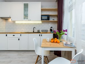 Rest inn Apartment Premium - Średnia otwarta biała kuchnia jednorzędowa w aneksie z oknem - zdjęcie od SpacerWEB Fotografia wnętrz i Wirtualne spacery 3D