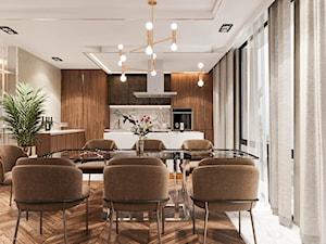 Piaszczysty brzeg - Duża otwarta szara jadalnia w kuchni, styl art deco - zdjęcie od Valido Architects