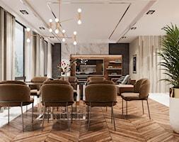 Piaszczysty brzeg - Duża otwarta beżowa jadalnia w salonie, styl art deco - zdjęcie od Valido Architects