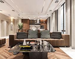 Piaszczysty brzeg - Mały szary salon z kuchnią z jadalnią, styl art deco - zdjęcie od Valido Architects