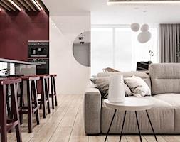 Wiśniowe popołudnie - Mały szary czerwony salon, styl nowoczesny - zdjęcie od Valido Architects