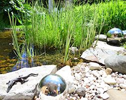 ogród naturalny 1 - Średni ogród za domem z oczkiem wodnym, styl nowoczesny - zdjęcie od Nisza Design