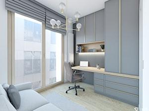 APARTAMENT W WYSOKIM STANDARDZIE DLA MŁODEJ KOBIETY, WARSZAWA - Średnie szare białe biuro kącik do pracy w pokoju, styl nowoczesny - zdjęcie od IN3 Architekci