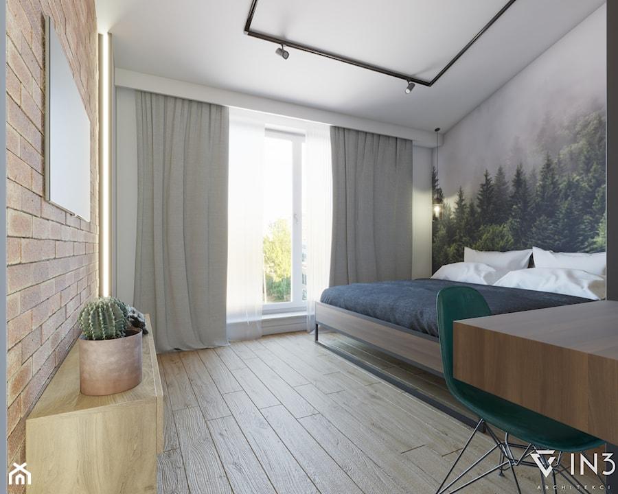MIESZKANIE W STYLU INDUSTRIALNYM, LUBLIN - Średnia biała szara sypialnia małżeńska na poddaszu, styl industrialny - zdjęcie od IN3 Architekci