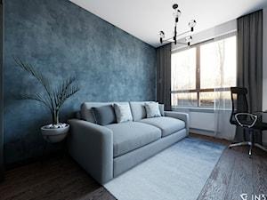 NOWOCZESNE MIESZKANIE DLA MŁODEJ PARY, WARSZAWA - Średnie niebieskie białe biuro domowe kącik do pracy w pokoju, styl nowoczesny - zdjęcie od IN3 Architekci