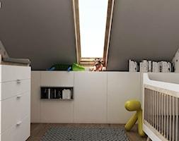 PROJEKT DOMU POD WARSZAWĄ - Mały biały szary pokój dziecka dla chłopca dla dziewczynki dla niemowlaka, styl minimalistyczny - zdjęcie od TILLA architects