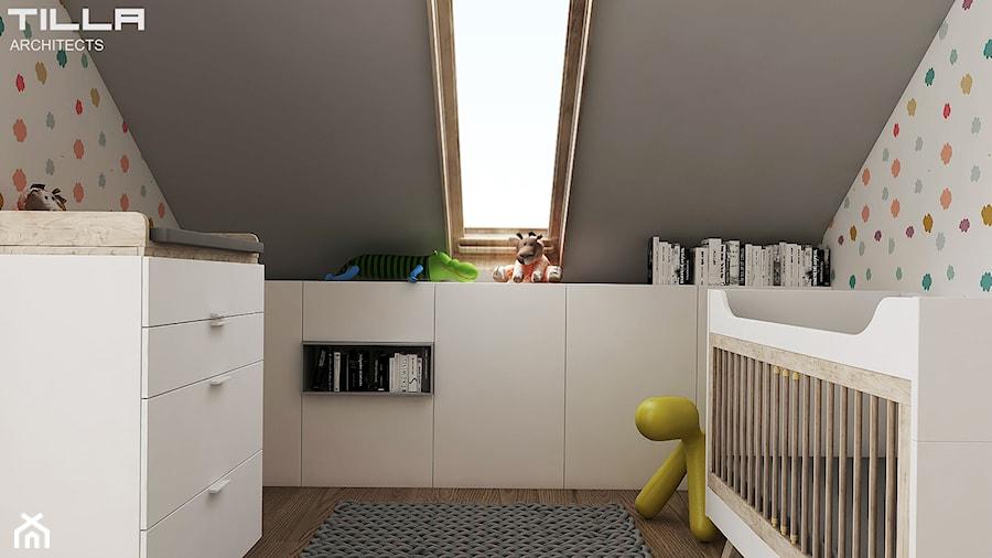 Aranżacje wnętrz - Pokój dziecka: PROJEKT DOMU POD WARSZAWĄ - Mały biały szary pokój dziecka dla chłopca dla dziewczynki dla niemowlaka, styl minimalistyczny - TILLA architects. Przeglądaj, dodawaj i zapisuj najlepsze zdjęcia, pomysły i inspiracje designerskie. W bazie mamy już prawie milion fotografii!