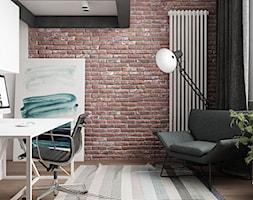 LOFT W ŻYRARDOWIE - Średnie białe biuro domowe kącik do pracy w pokoju, styl industrialny - zdjęcie od TILLA architects