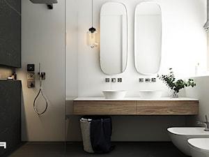 DOM KONSTANCINIE JEZIORNA - Mała biała czarna łazienka na poddaszu w bloku w domu jednorodzinnym z oknem - zdjęcie od TILLA architects