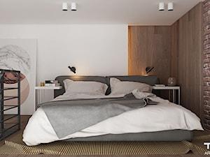 LOFT W ŻYRARDOWIE - Średnia szara sypialnia małżeńska na antresoli, styl industrialny - zdjęcie od TILLA architects