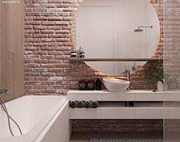 LOFT W ŻYRARDOWIE - Beżowa brązowa łazienka bez okna, styl industrialny - zdjęcie od TILLA architects
