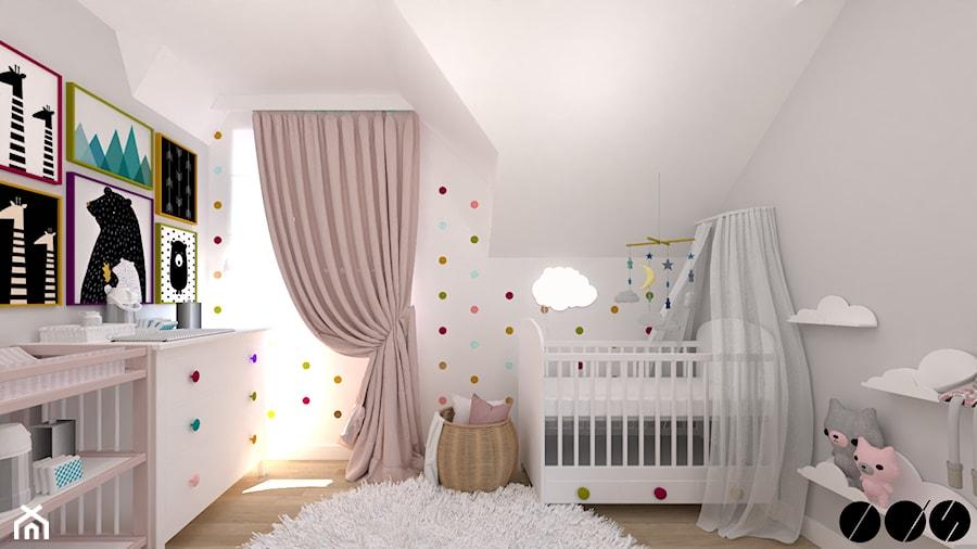 Pokój dziecka - Średni szary pokój dziecka dla dziewczynki dla niemowlaka, styl tradycyjny - zdjęcie od ID_Studio
