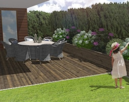 Ogród w Gdyni Orłowie - projekt - Mały ogród za domem zadaszony przedłużeniem dachu - zdjęcie od Green Pro Studio