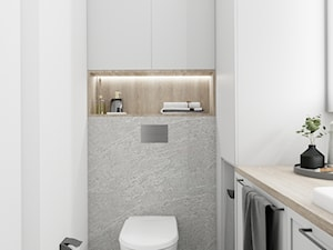 Łazienka w industrialnej kawalerce - Mała biała szara łazienka bez okna, styl industrialny - zdjęcie od LATO studio