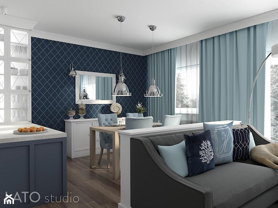 Strefa dzienna w stylu Hampton - Mała otwarta niebieska szara jadalnia w salonie - zdjęcie od LATO studio