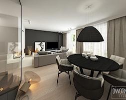DOM Z OBRAZAMI - Średni biały czarny salon z jadalnią, styl nowoczesny - zdjęcie od DWORNICKA STUDIO - Homebook