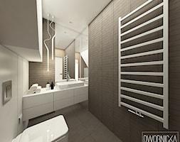 DOM Z OBRAZAMI - Mała czarna łazienka na poddaszu w domu jednorodzinnym z oknem, styl nowoczesny - zdjęcie od DWORNICKA STUDIO - Homebook