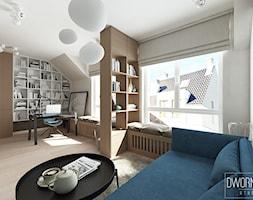 DOM Z OBRAZAMI - Średnie szare białe biuro domowe w pokoju, styl nowoczesny - zdjęcie od DWORNICKA STUDIO - Homebook