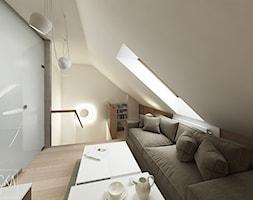 DOM Z OBRAZAMI - Mały szary biały salon z bibiloteczką, styl nowoczesny - zdjęcie od DWORNICKA STUDIO - Homebook