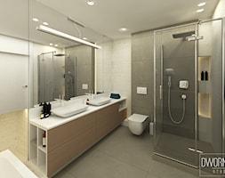 DOM Z OBRAZAMI - Średnia szara łazienka w bloku w domu jednorodzinnym bez okna, styl nowoczesny - zdjęcie od DWORNICKA STUDIO - Homebook