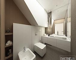 DOM Z OBRAZAMI - Mała czarna łazienka na poddaszu w domu jednorodzinnym bez okna, styl nowoczesny - zdjęcie od DWORNICKA STUDIO - Homebook