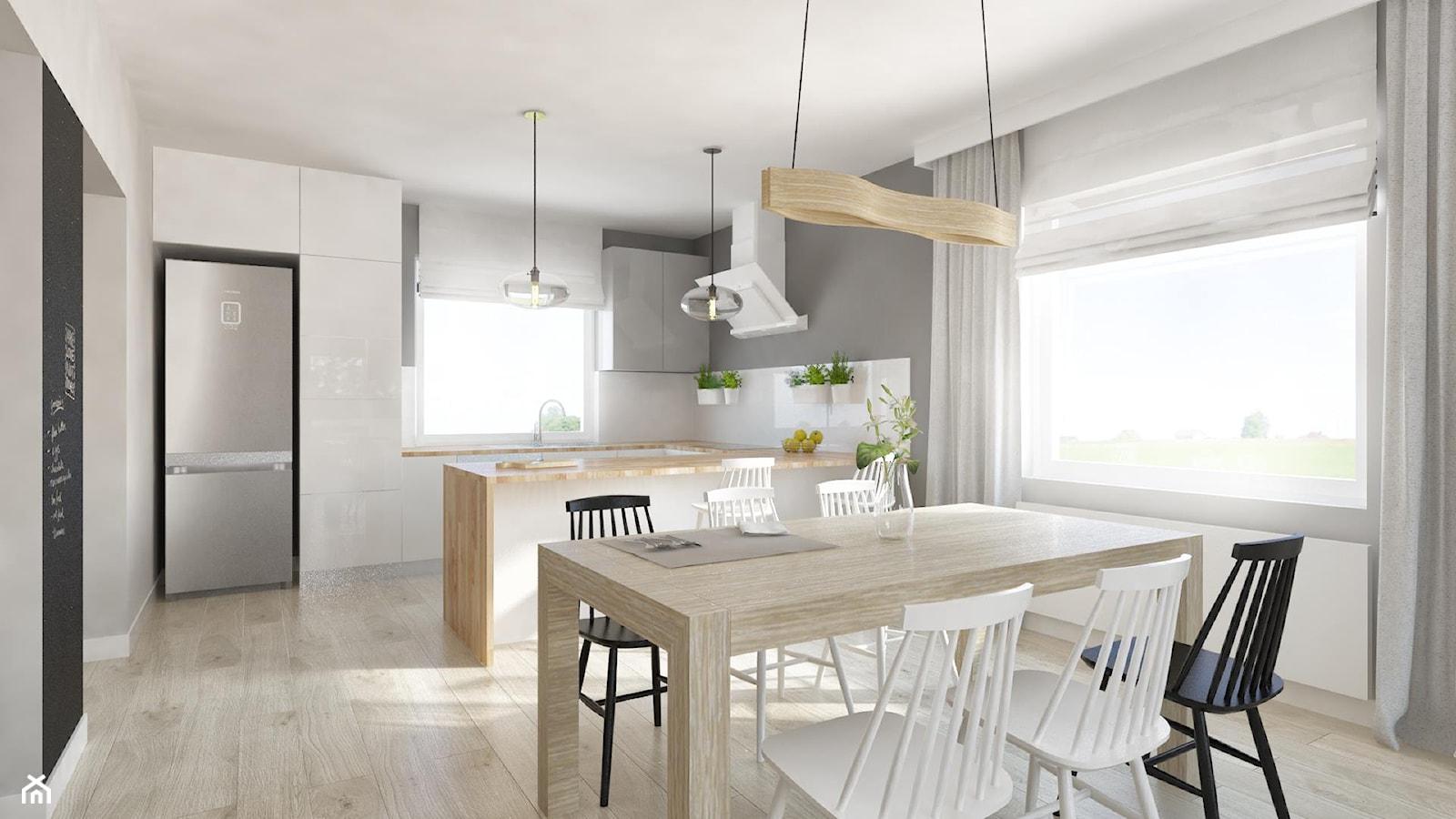 """Salon z kuchnia 2 - Średnia otwarta szara jadalnia w kuchni, styl eklektyczny - zdjęcie od Pracownia Aranżacji Wnętrz """"O-kreślarnia"""" - Homebook"""