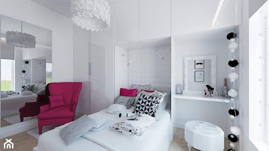 """Sypialnia w dwóch wersjach - Mały biały pokój dziecka dla dziewczynki dla ucznia dla malucha dla nastolatka - zdjęcie od Pracownia Aranżacji Wnętrz """"O-kreślarnia"""""""