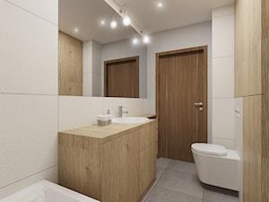 """Mieszkanie 81 m2 - Mała beżowa łazienka w bloku bez okna, styl nowoczesny - zdjęcie od Pracownia Aranżacji Wnętrz """"O-kreślarnia"""""""