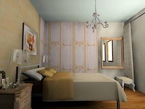 """Sypialnia - Średnia beżowa biała szara sypialnia małżeńska - zdjęcie od Pracownia Aranżacji Wnętrz """"O-kreślarnia"""""""