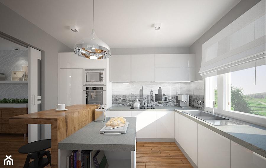 Salon, kuchnia, przedpokój w domu jednorodzinnym  Duża   -> Kuchnia Otwarta Obrazy