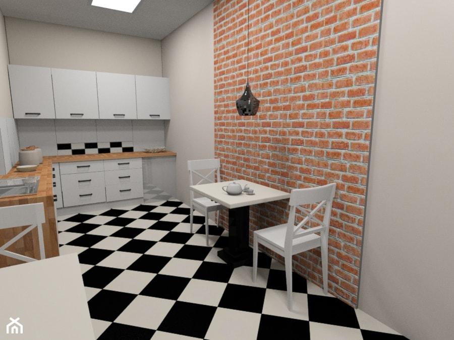 Kuchnia w biurze w kamienicy z czarno bia pog og i for Biala cegla w salonie