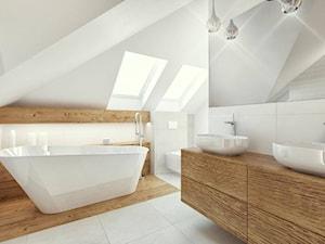 """Projekty 2017 - Średnia biała łazienka na poddaszu w domu jednorodzinnym z oknem, styl nowoczesny - zdjęcie od Pracownia Aranżacji Wnętrz """"O-kreślarnia"""""""