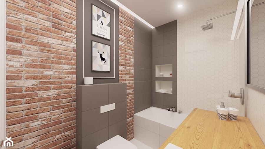 Sypialnia I łazienka Z Czerwoną Cegłą Mała łazienka Bez