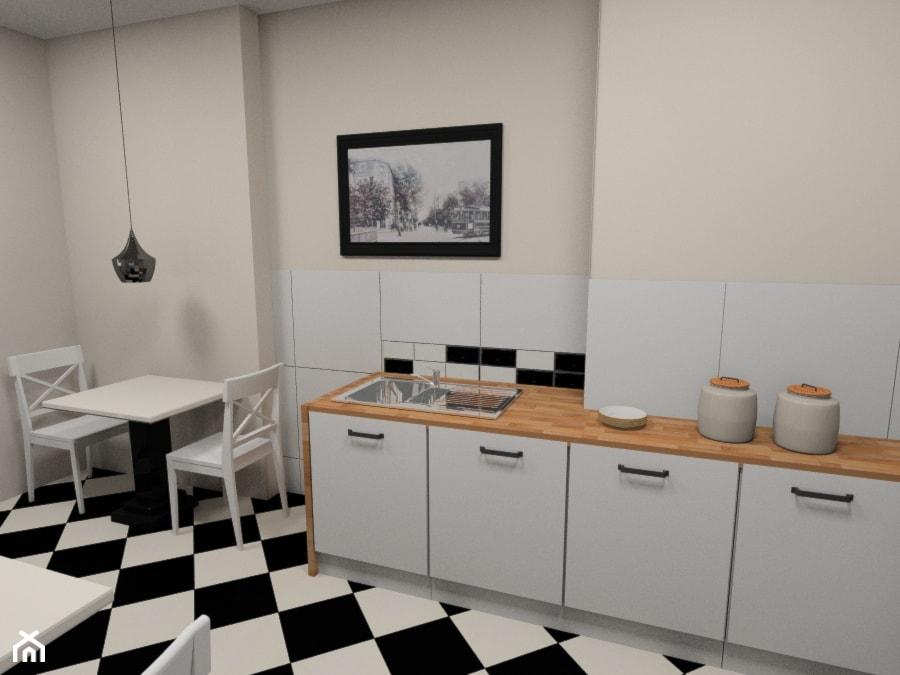 Kuchnia w biurze w kamienicy z czarno białą pogłogą i   -> Kuchnia Biala Cegla