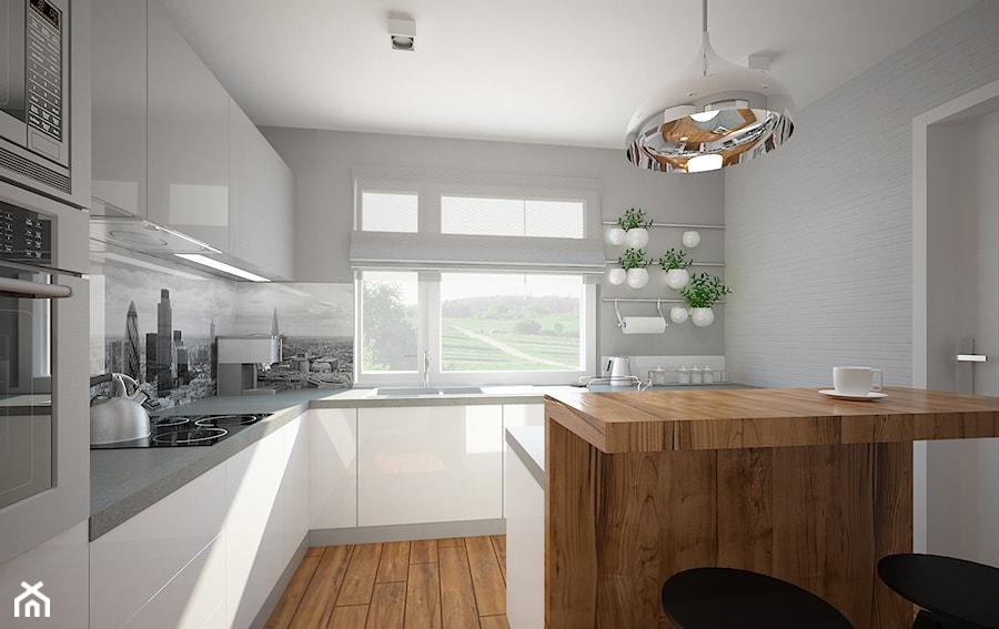 Salon, kuchnia, przedpokój w domu jednorodzinnym  Średnia otwarta kuchnia w